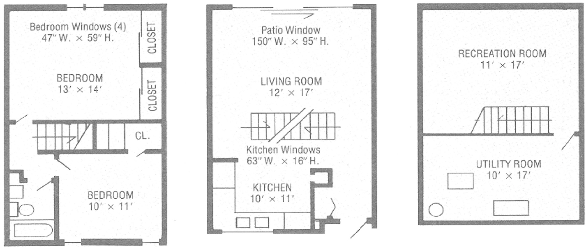 Pillsbury Court Townhouse Floorplan - three stories including two bedrooms