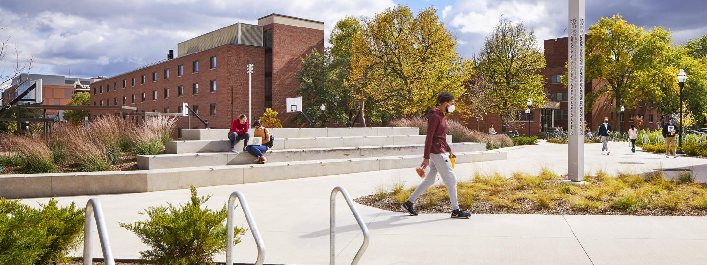 Students outside on the Essex Corridor plaza