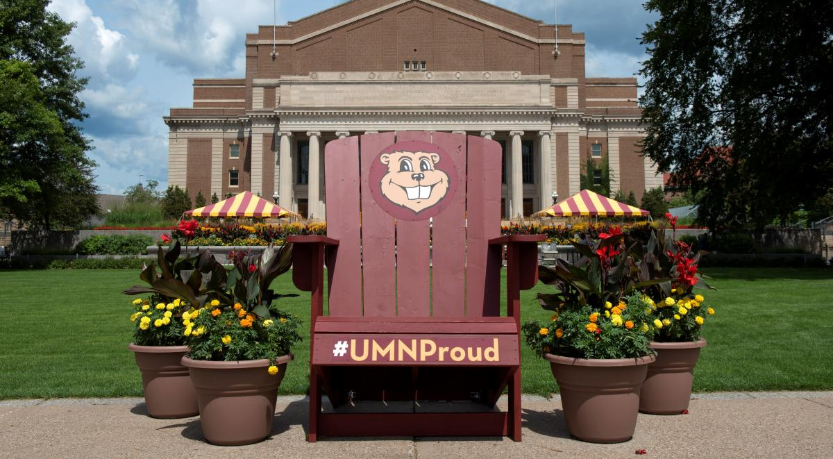 Giant UMN Proud Adirondack chair on the mall